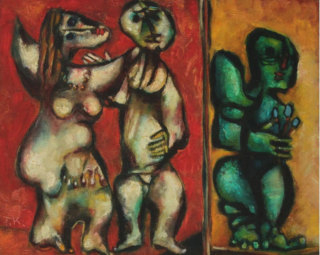Joel Kass (b.1937) - Figures, Oil on Canvas, 1992.