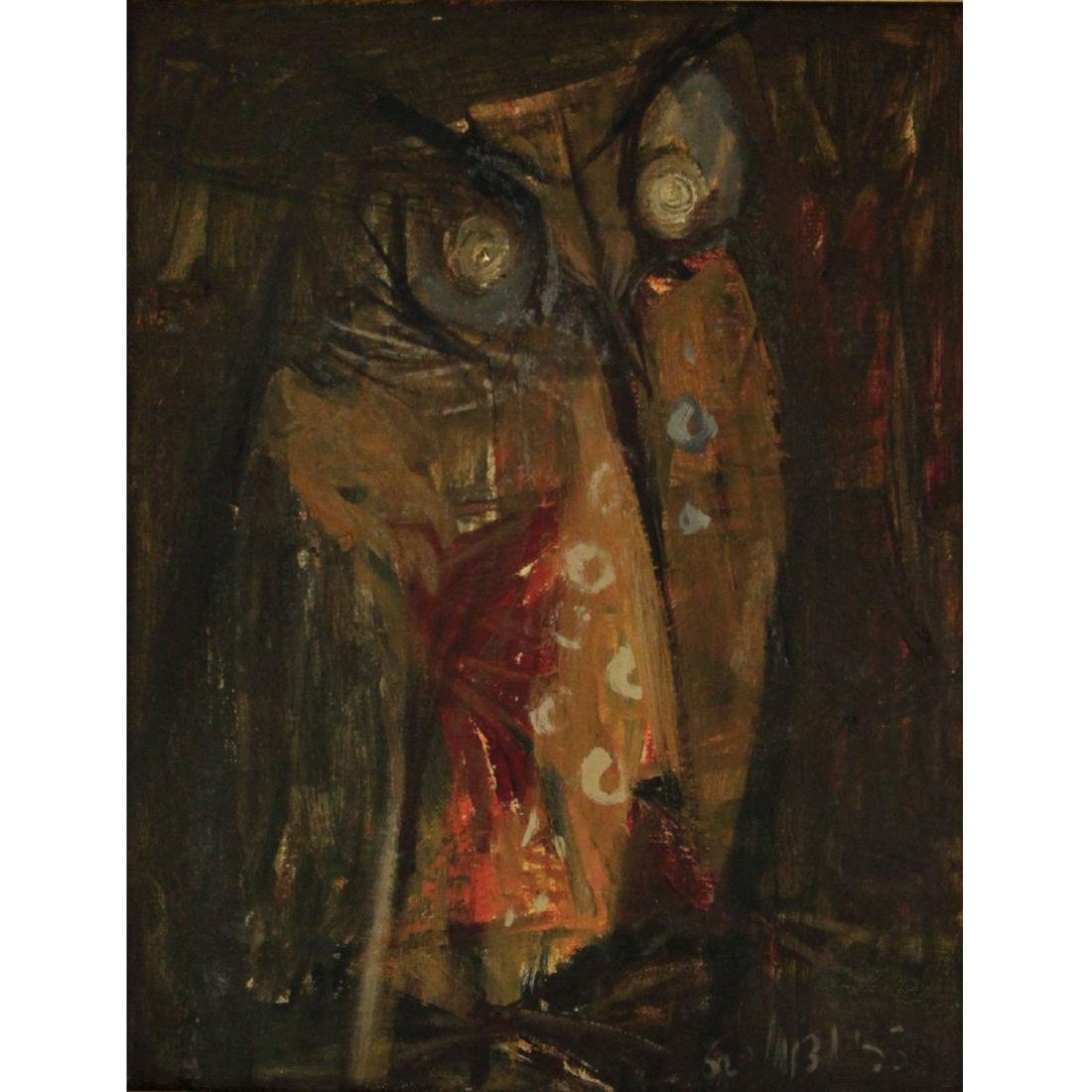 Zvi Tadmor (1923-2012) - Owl, Oil on Canvas, 1960.