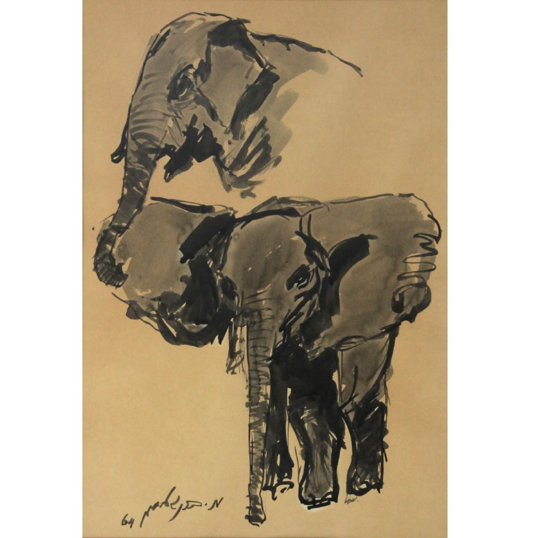Moshe Bernstein (1920-2006) - Elephants, Watercolor and
