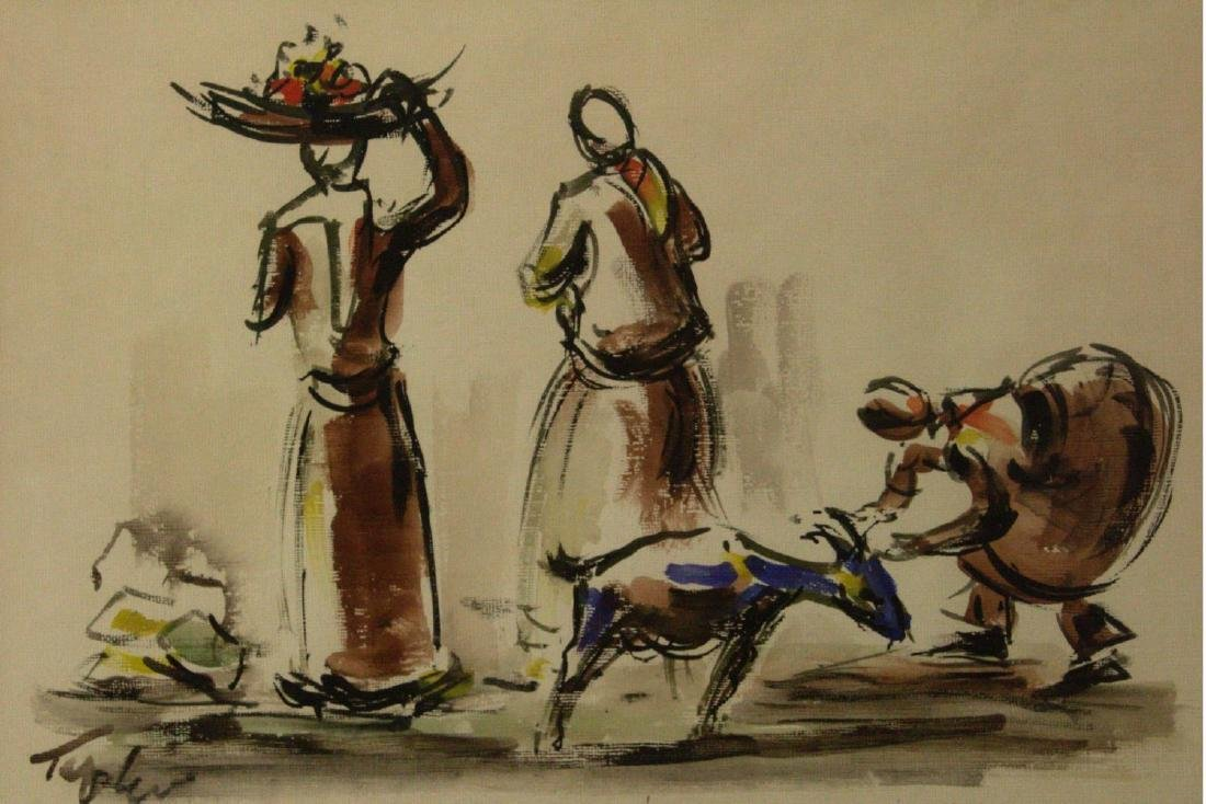 Shmuel Tepler - Figures and Goat, Watercolor on Paper.