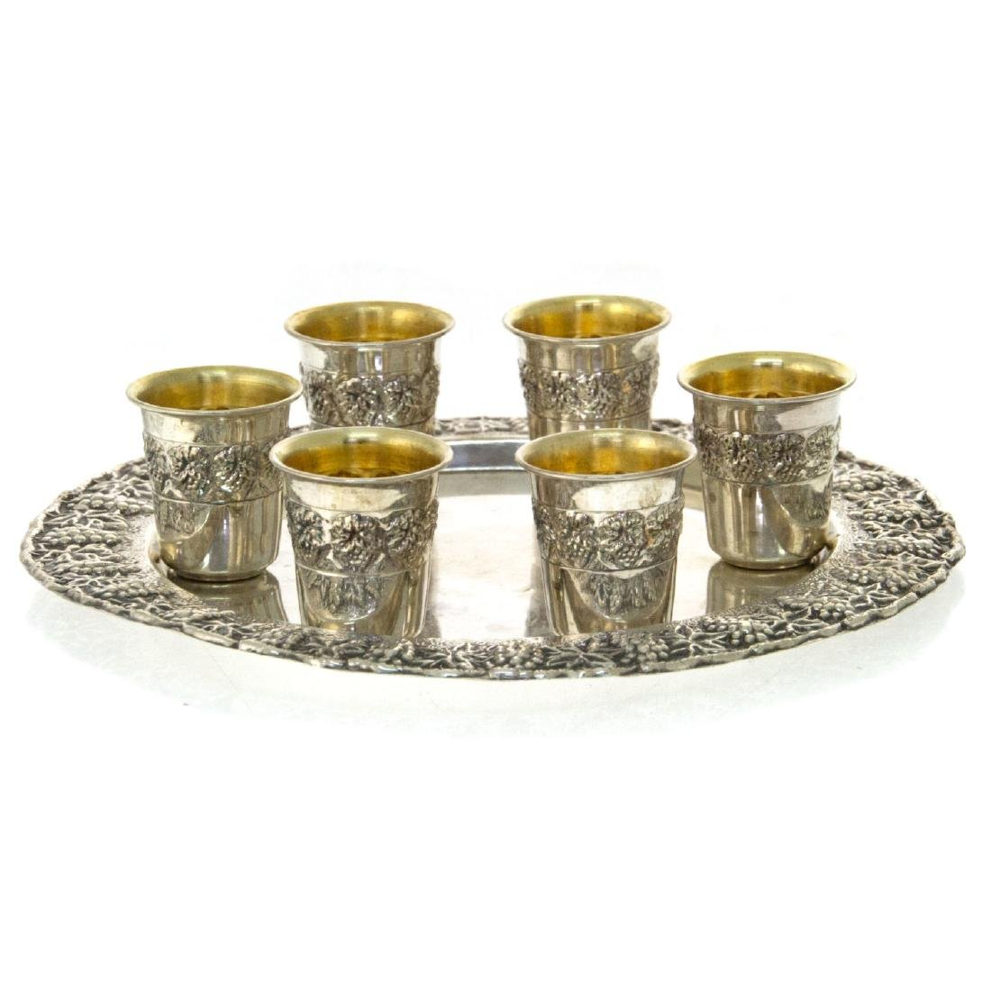 Six Sterling Silver Cups on Tray.