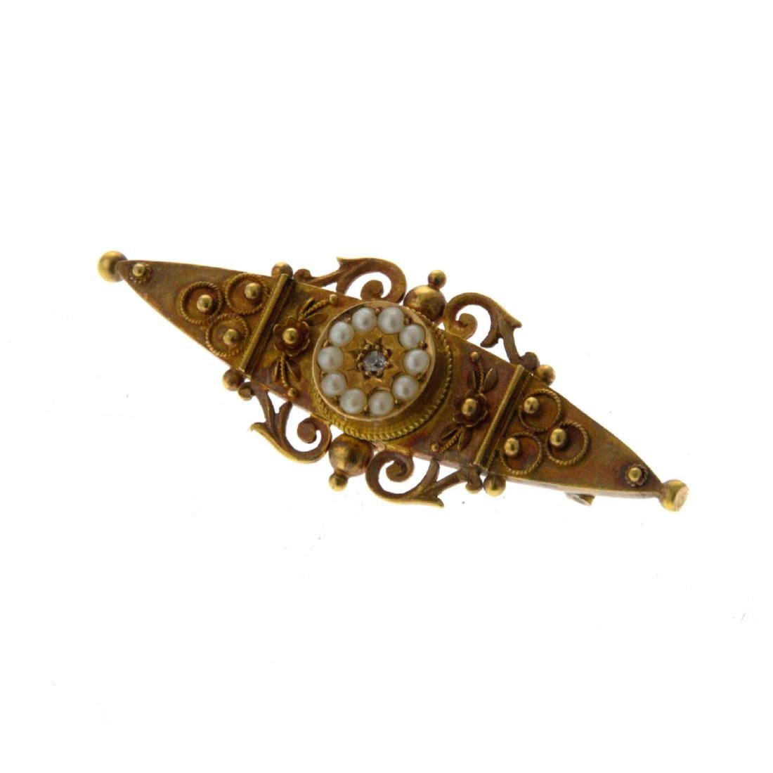 Victorian 15k Gold Diamond and Pearl Brooch.