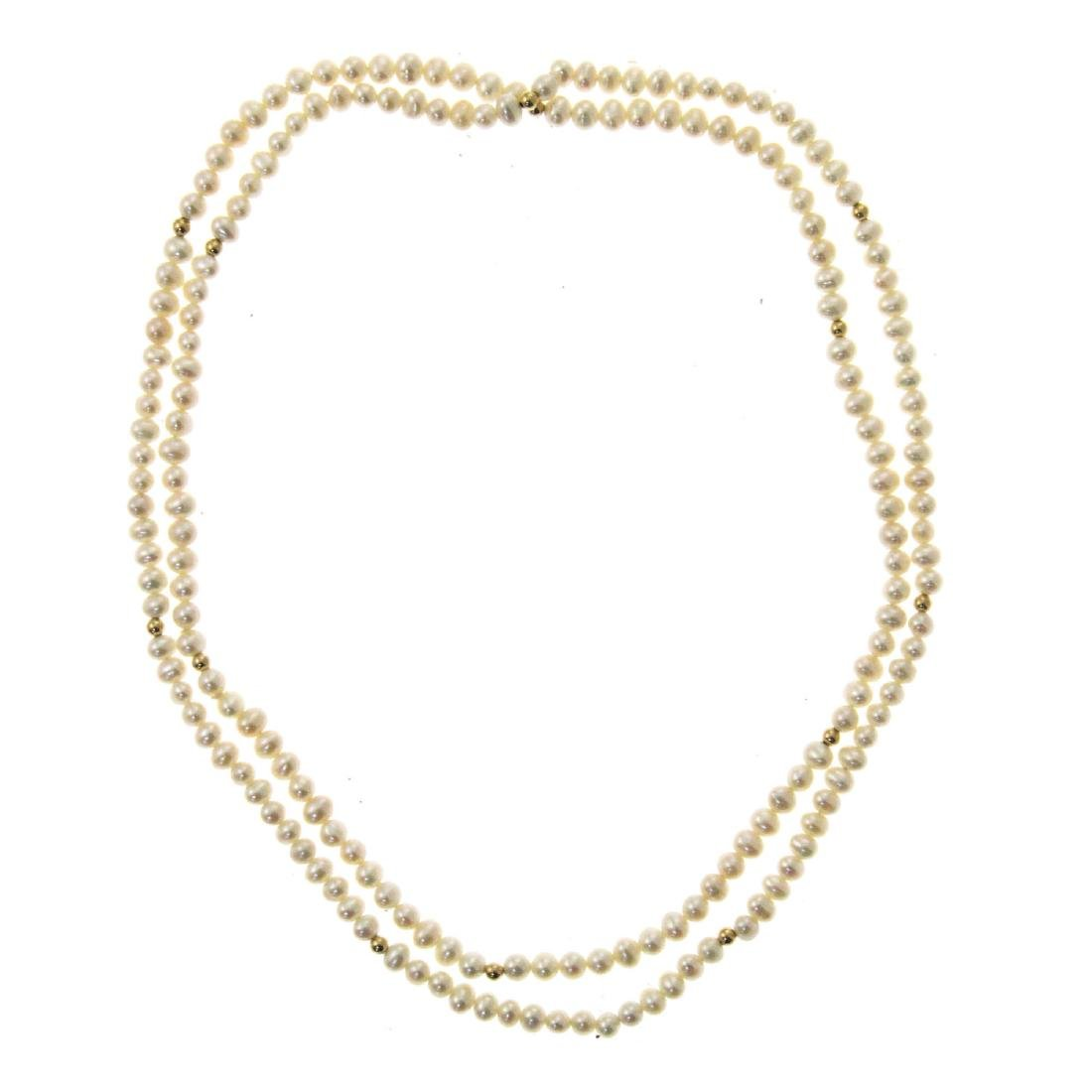Pearl and 14k Yellow Gold Necklace.