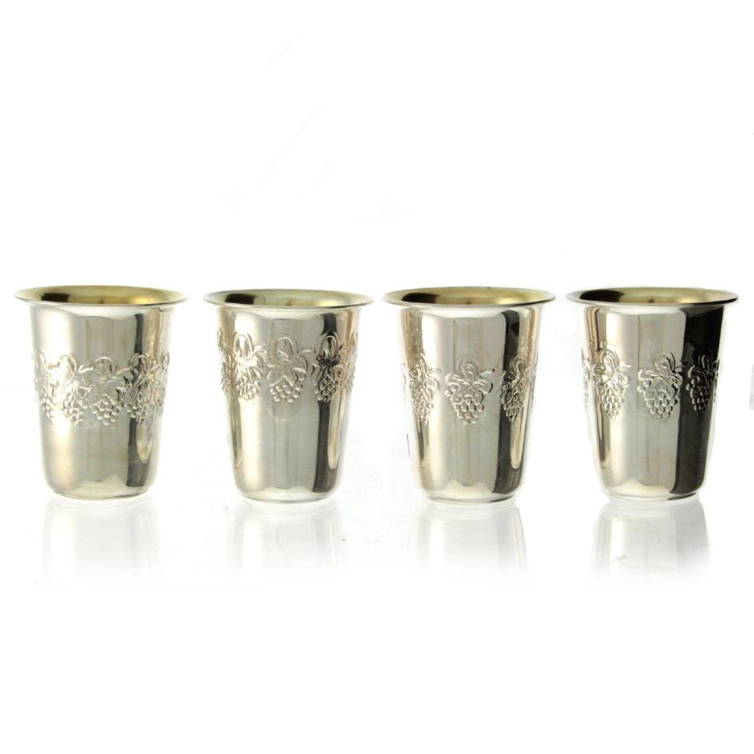 Four Sterling Silver Kiddush Cups.