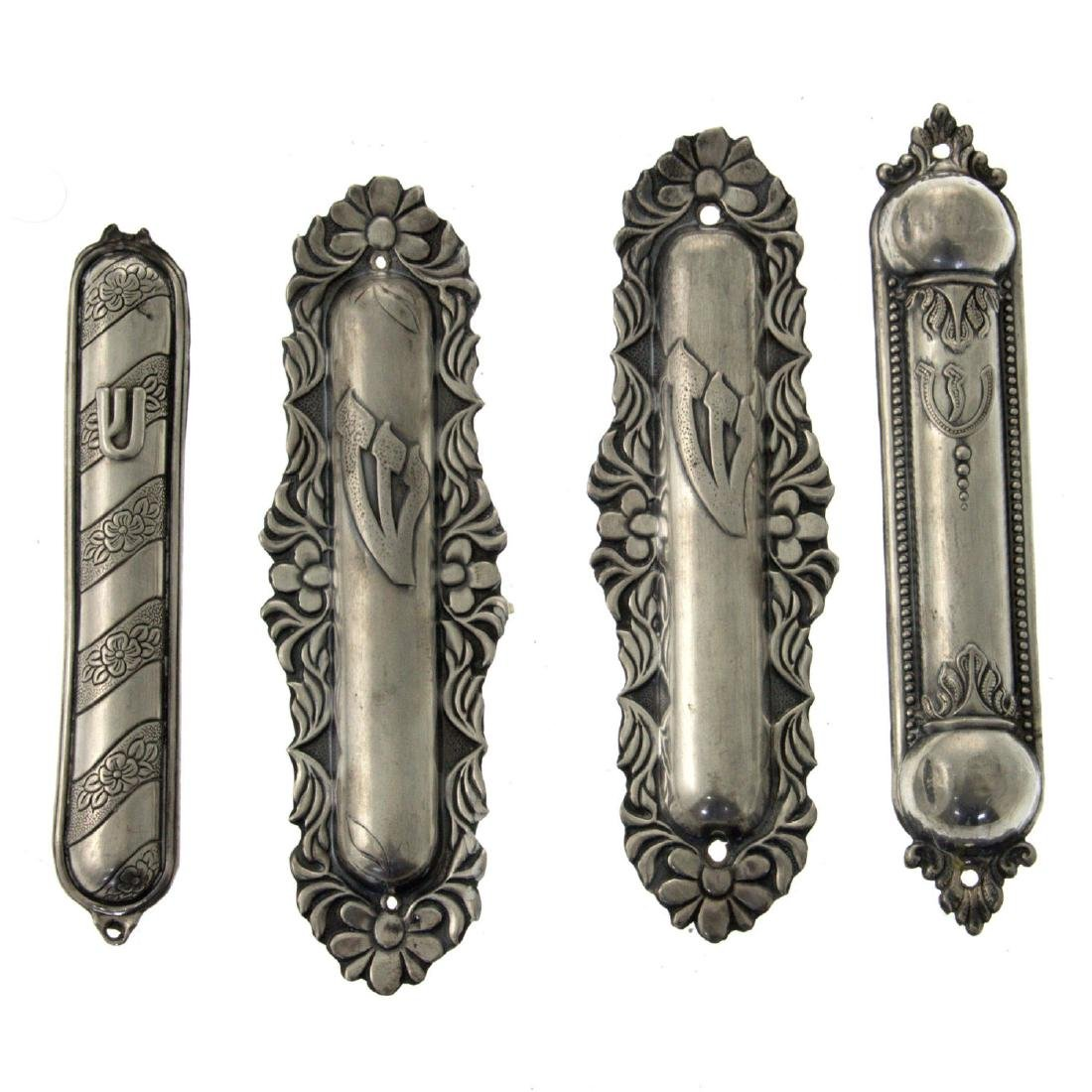 Four Sterling Silver Mezuzah Cases, Judaica.