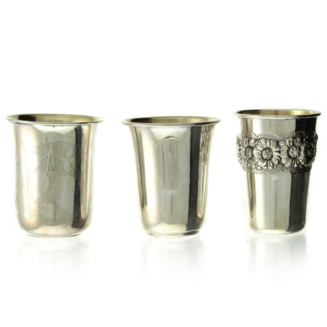 Three Sterling Silver Kiddush Cups.