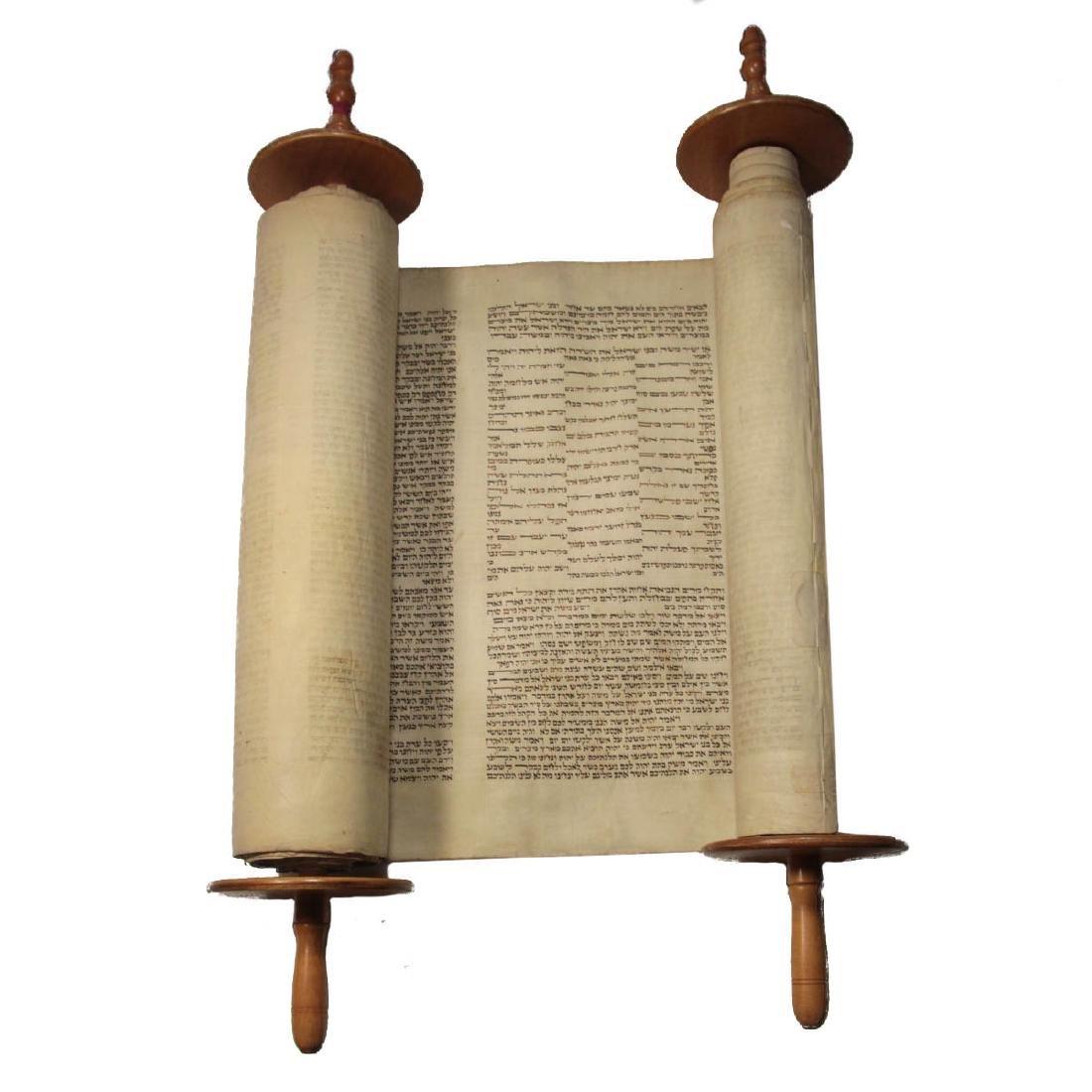 Torah Scroll on Parchment, 18th Century, Judaica.