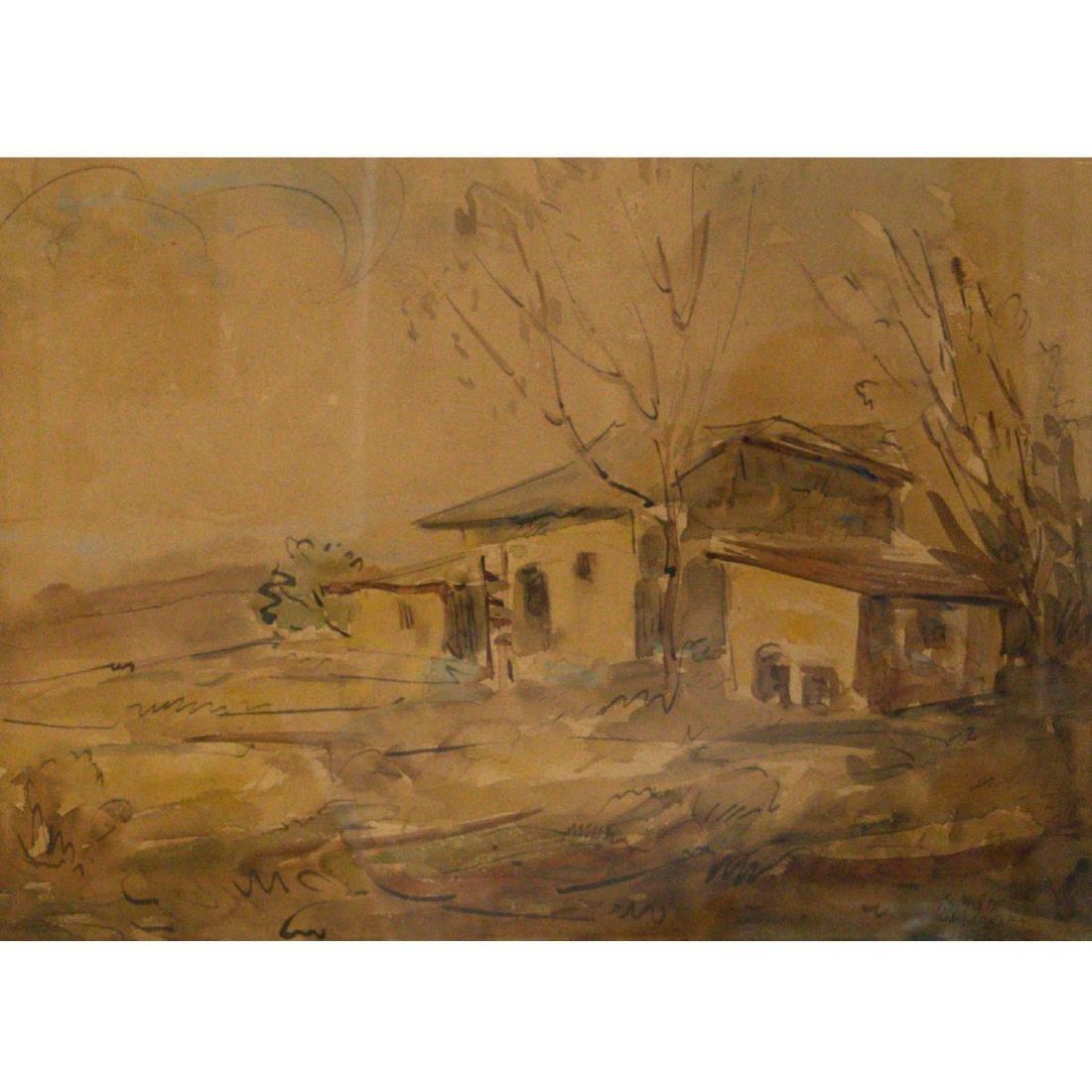 Shmuel Ovadiahu - Landscape, Watercolor on Paper.