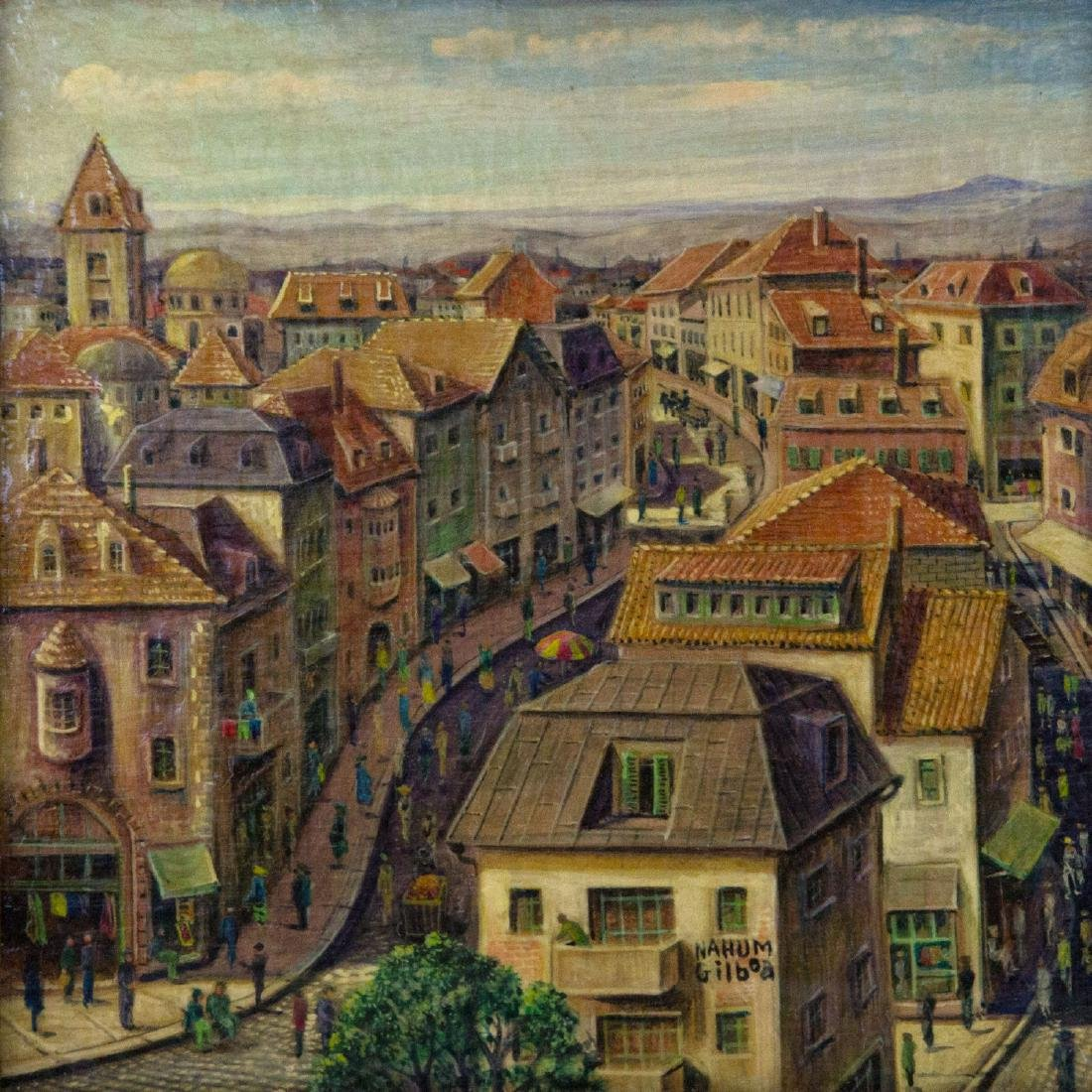 Nahum Gilboa - Street in the Town, Oil and Mixed Media