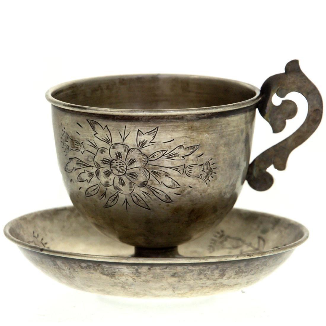 Silver Tea Cup and Coaster, Circa 1900.