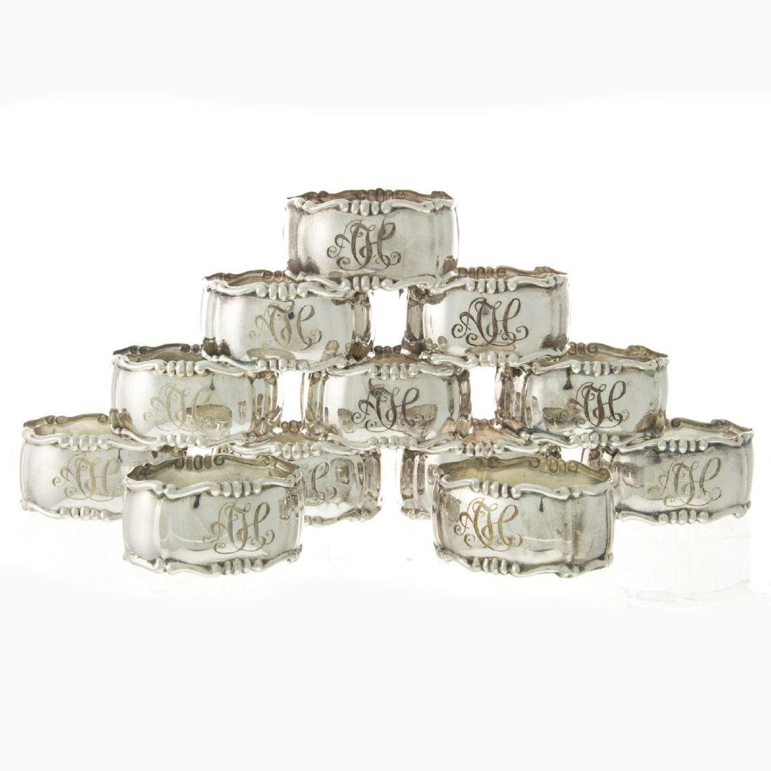 Set of 12 Sterling Silver Napkin Rings.