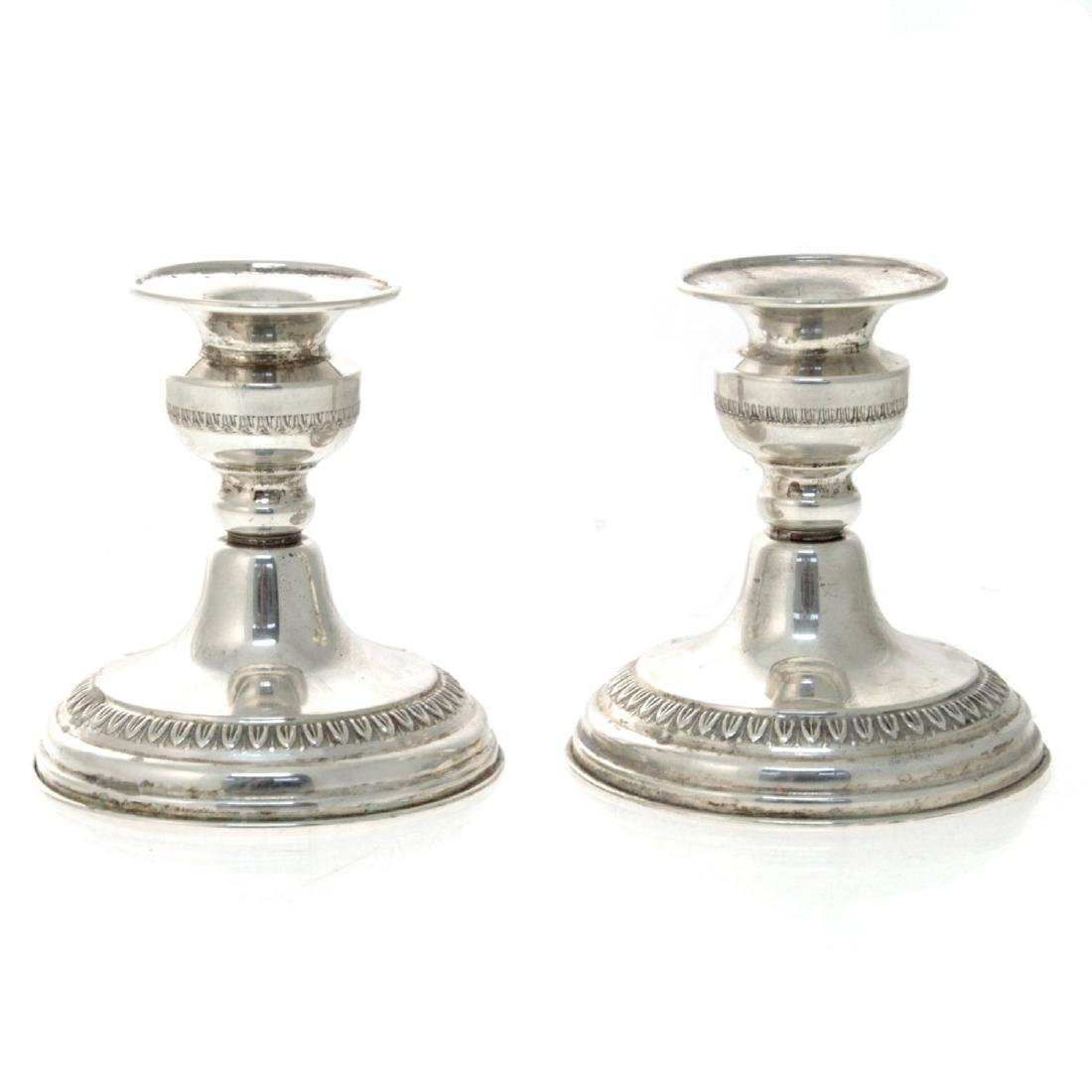 Pair of Sterling Silver Dwarf Candlesticks.
