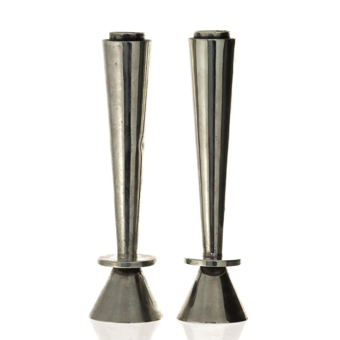 Pair of Sterling Silver Sabbath Candlesticks.