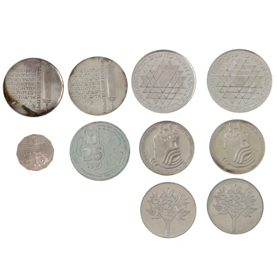 Ten Israel Silver Coins.