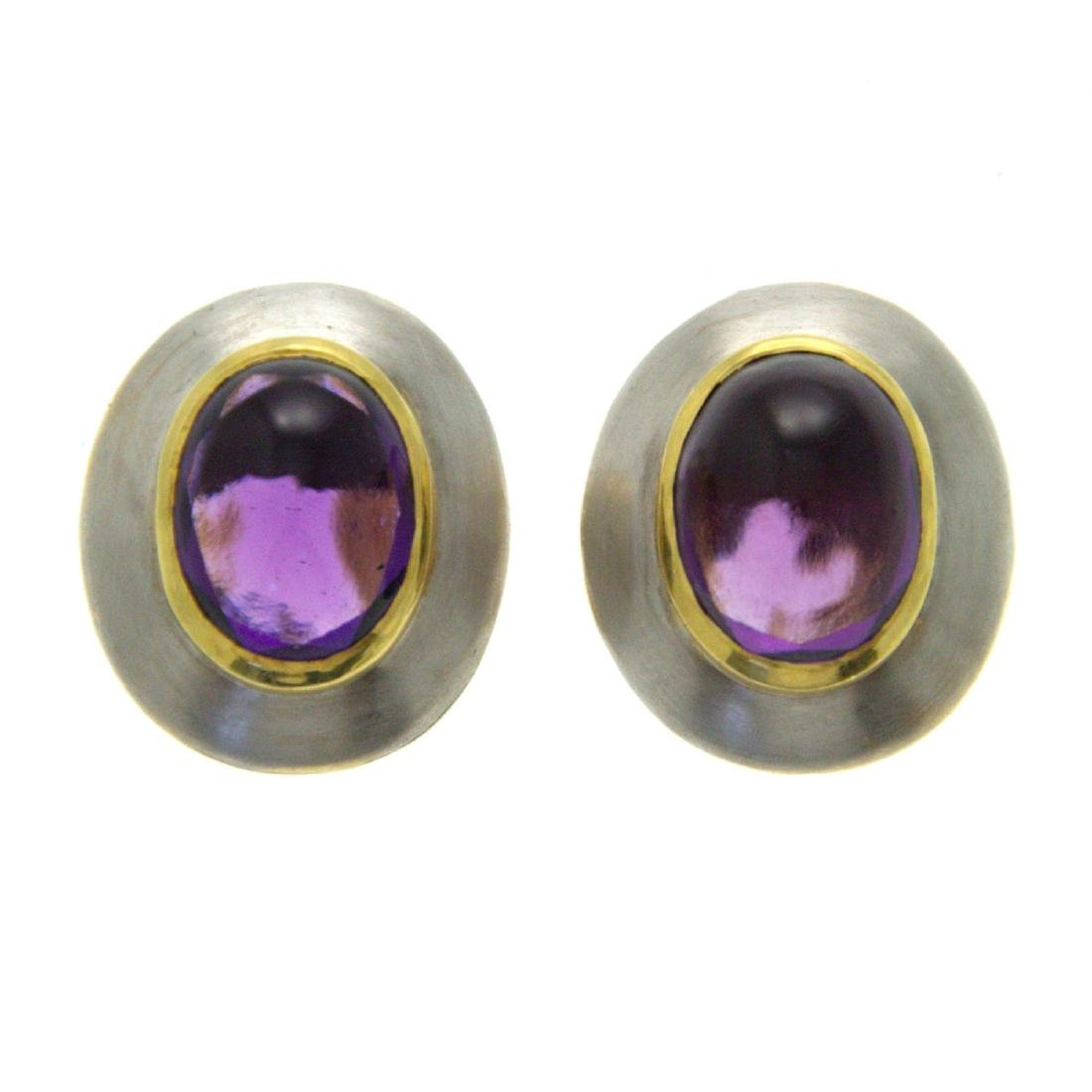 H. Stern Pair of 18k Yellow and White Gold Amethyst