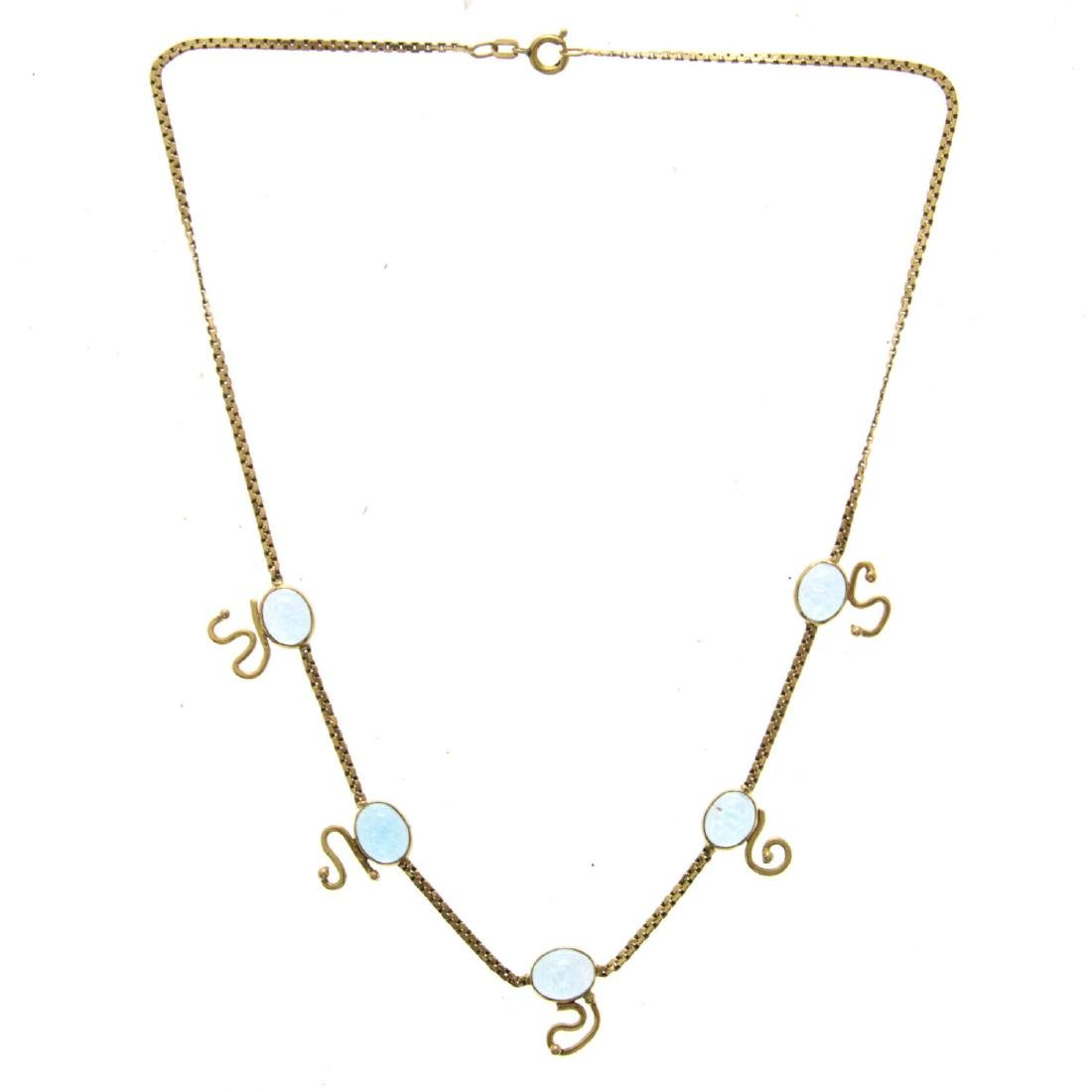 14k Yellow Gold Blue Topaz Necklace.