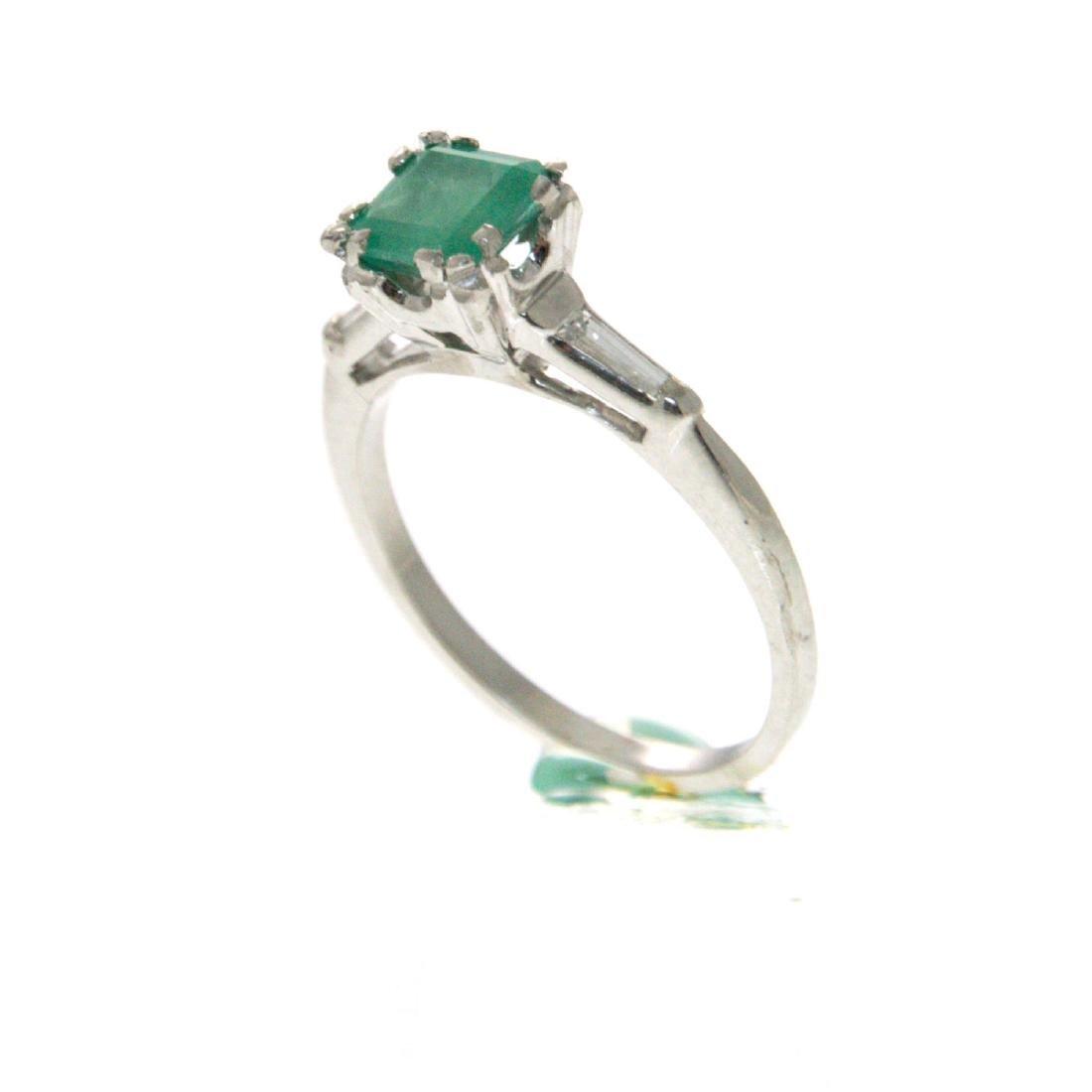 Platinum Emerald and Diamond Ring. - 2