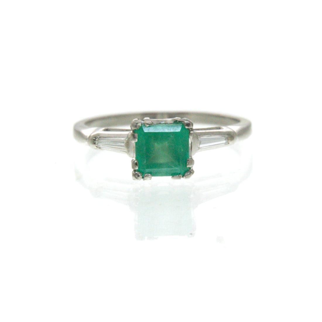 Platinum Emerald and Diamond Ring. - 3