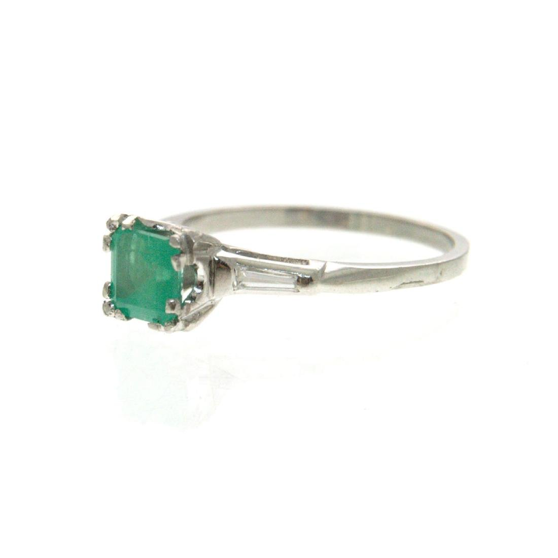 Platinum Emerald and Diamond Ring. - 4