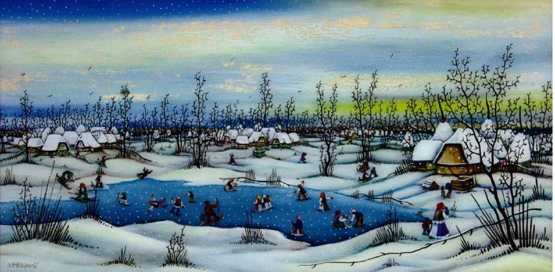 B.P. Filipovic - Figures in the Snow, Oil on Glass.