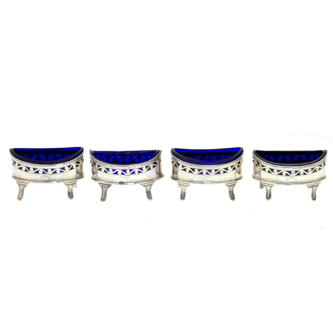 George III Sterling Silver 4 Salt Cellars Set, London,