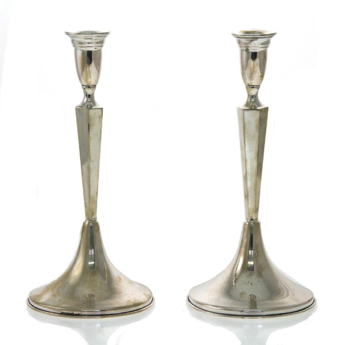 Hazorfim Pair of Silver Candlesticks.