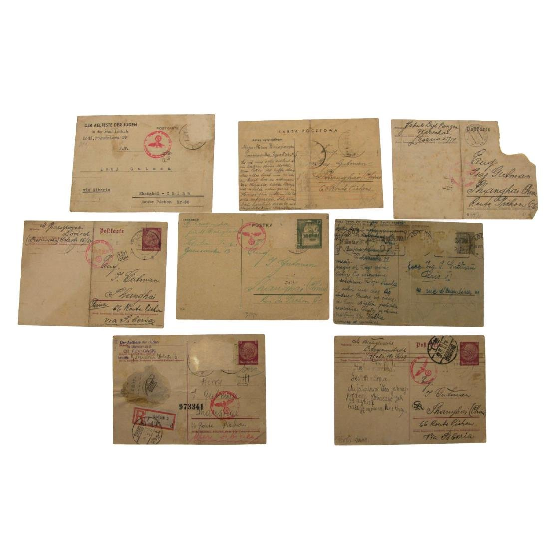Eight Postcards Sent from Lodz Ghetto and other Places