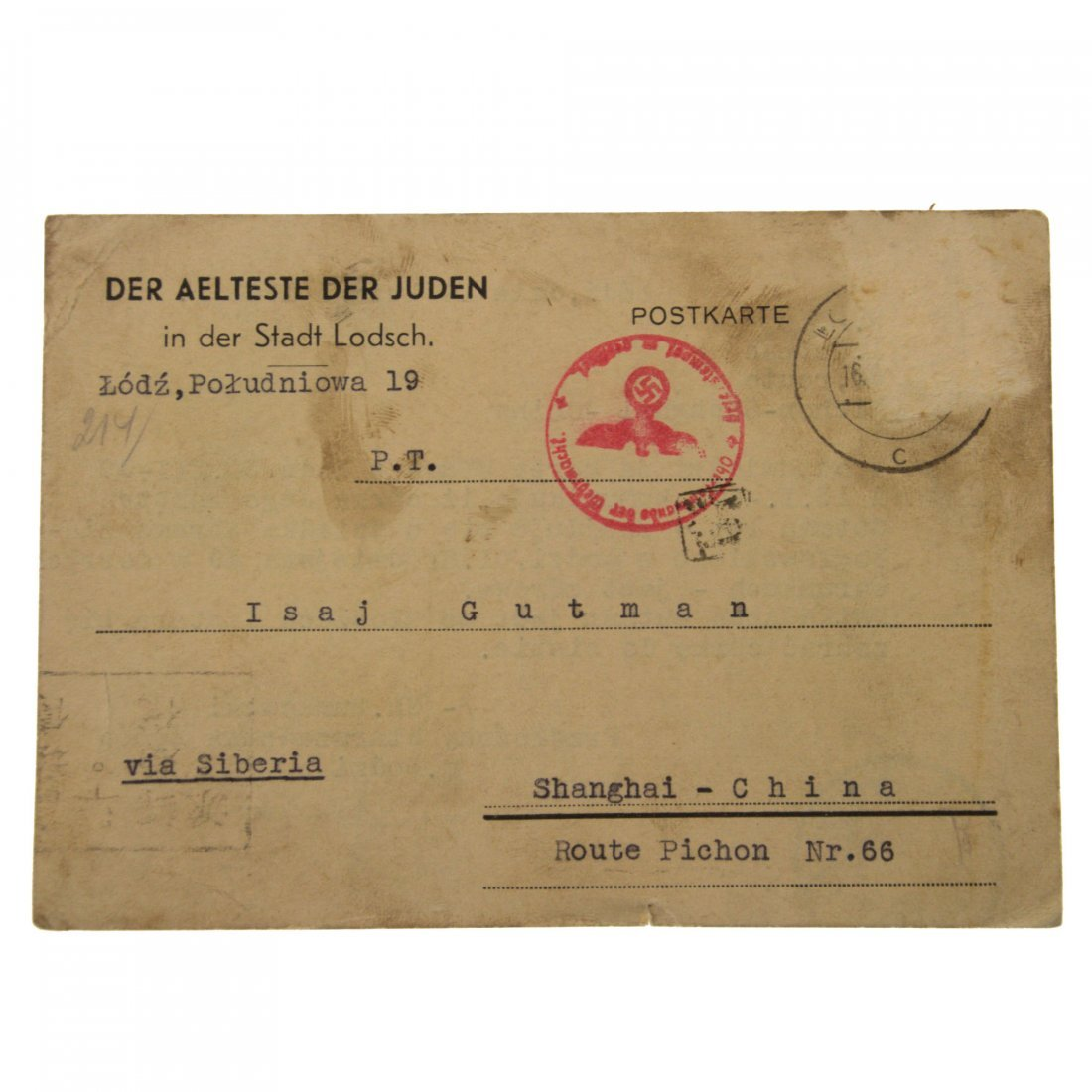 Eight Postcards Sent from Lodz Ghetto and other Places - 4