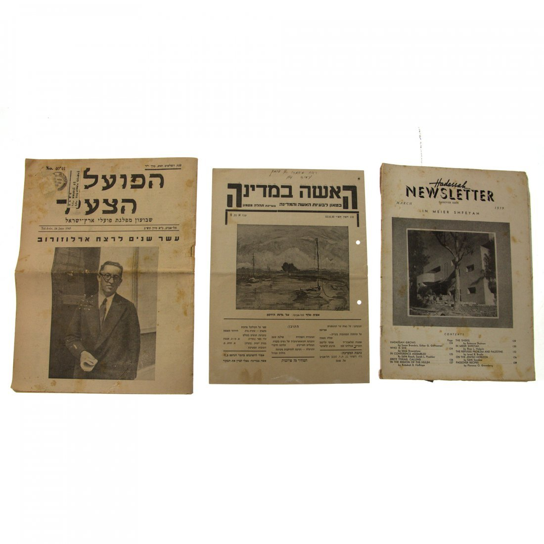 Collection of 15 Eretz-Israel & Early Israel Newspapers