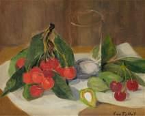 Luce Luc Tullat  Still Life with Cherries Oil on