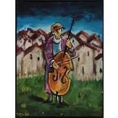 Yosl Bergner (1920-2017) - Bass Player, Oil on Canvas.