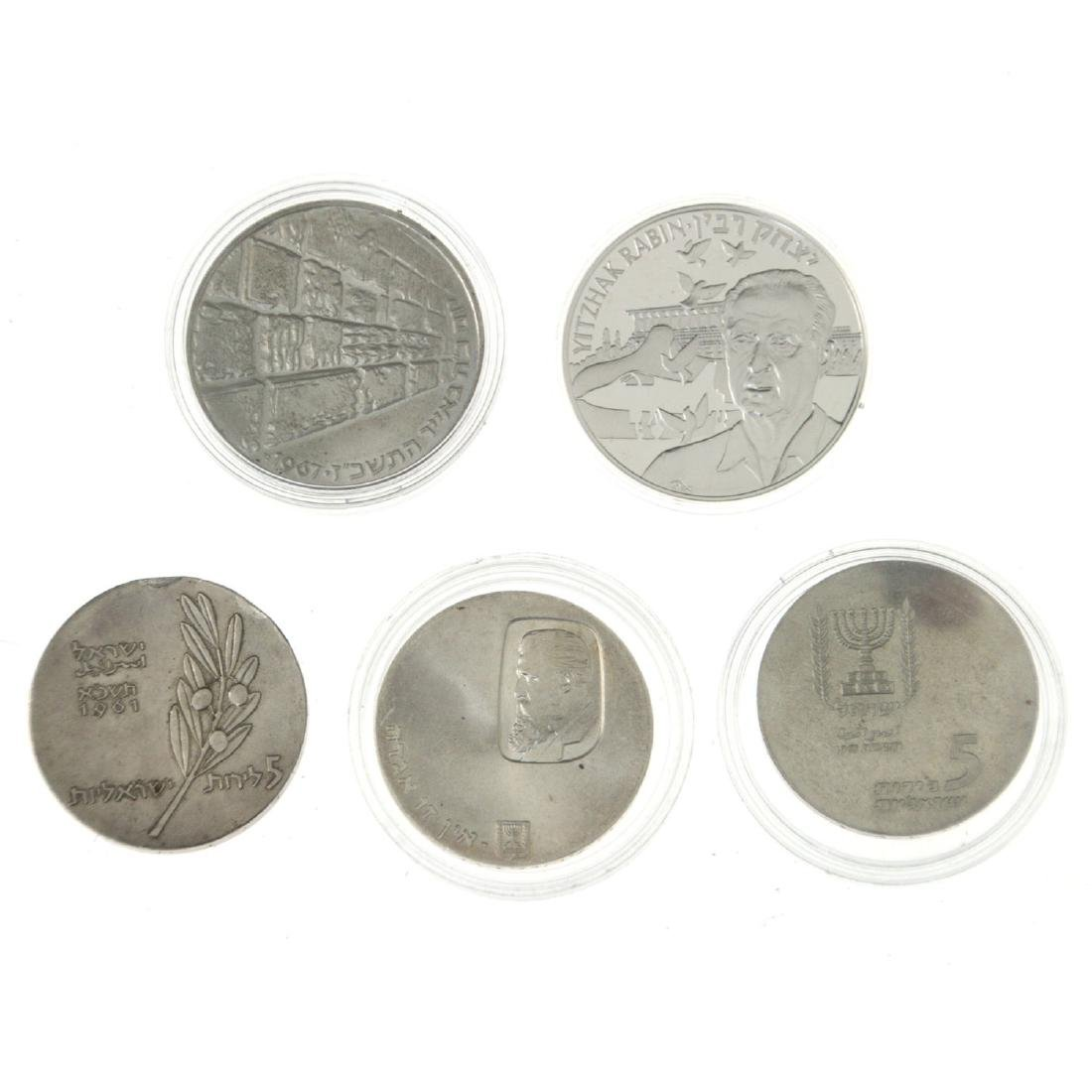 Five Israel Silver Coins.