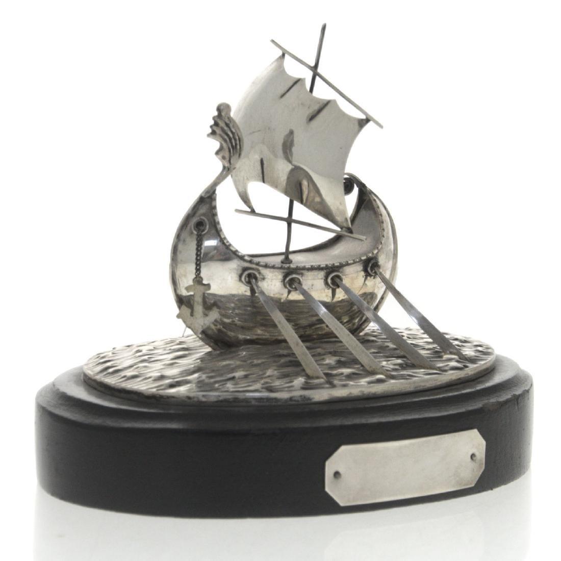 Silver Viking Ship Model.