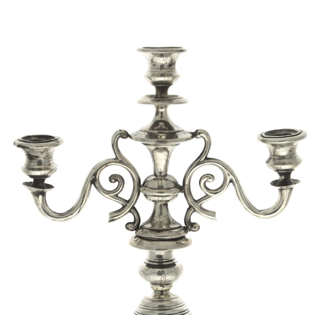 Austrian Silver Three Light Candelabra, Vienna, - 2