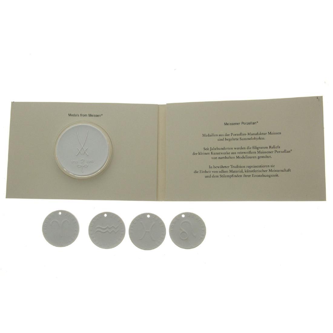 Four Meissen porcelain Zodiac pendants with company's - 2