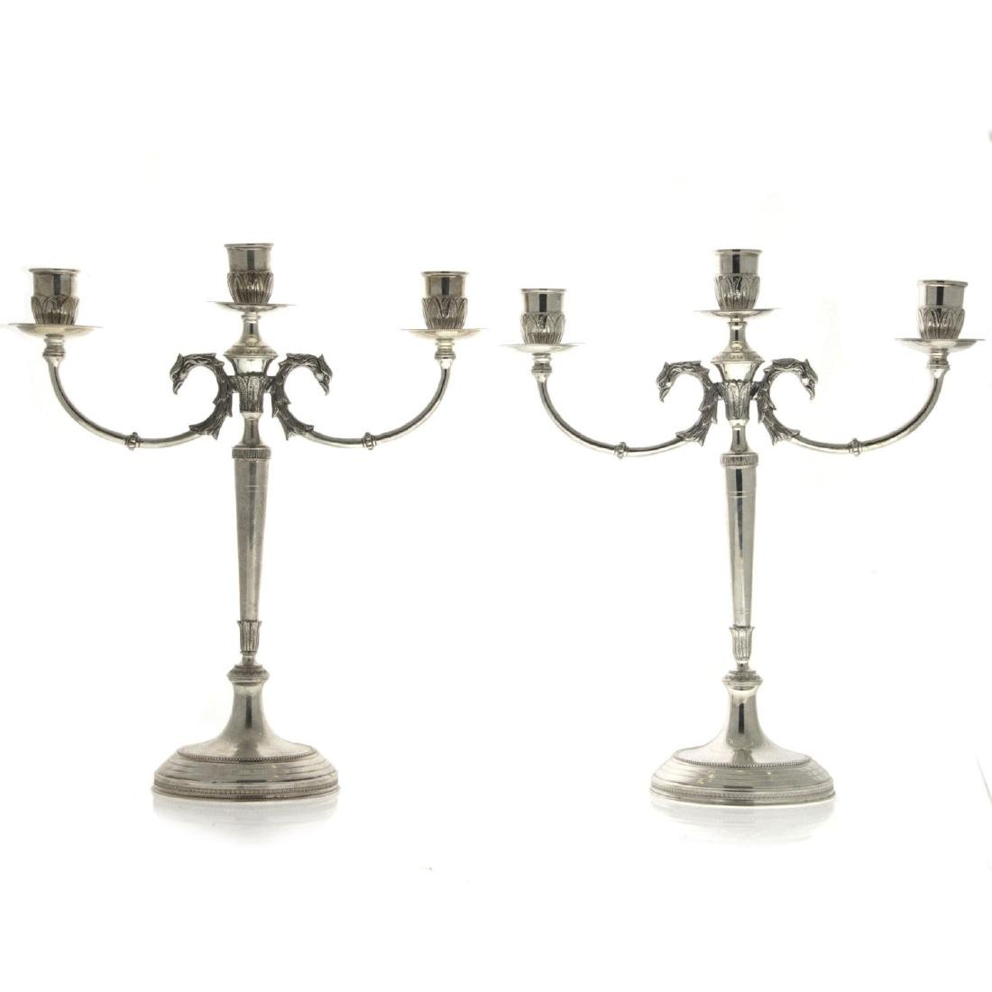 Pair of Silver Candelabras, Italy, 20th Century.