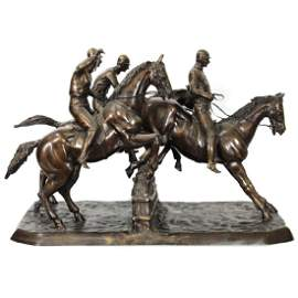 Large! Steeplechase Bronze Sculpture After Isidore