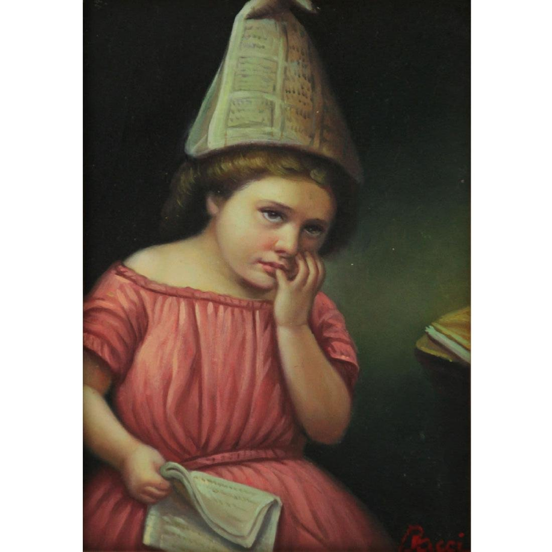 Bacci - Girl with Newspapers, Oil on Board.