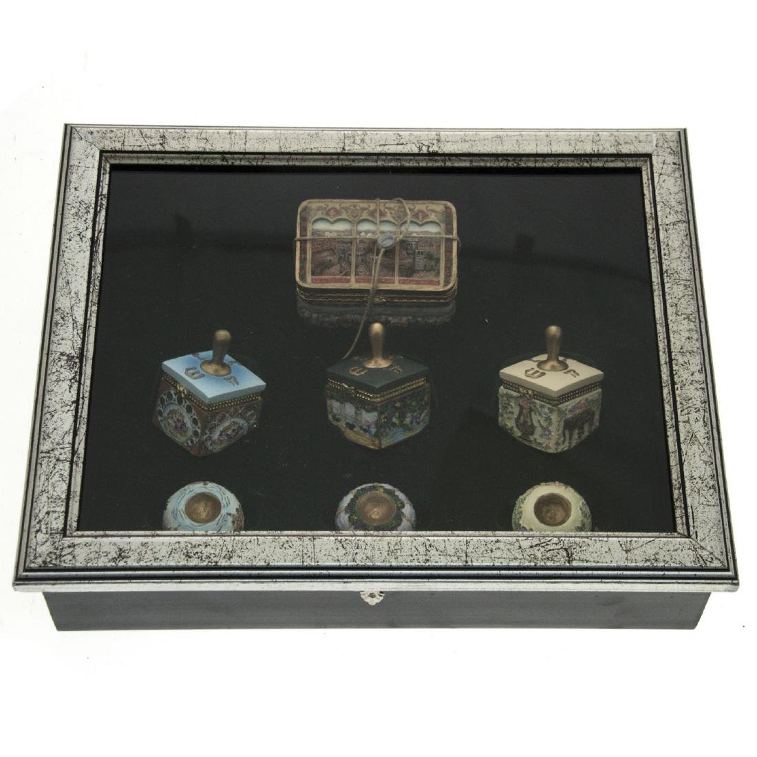 Set of 3 Artistic Dreidels and Hanukkah Gelt Box.