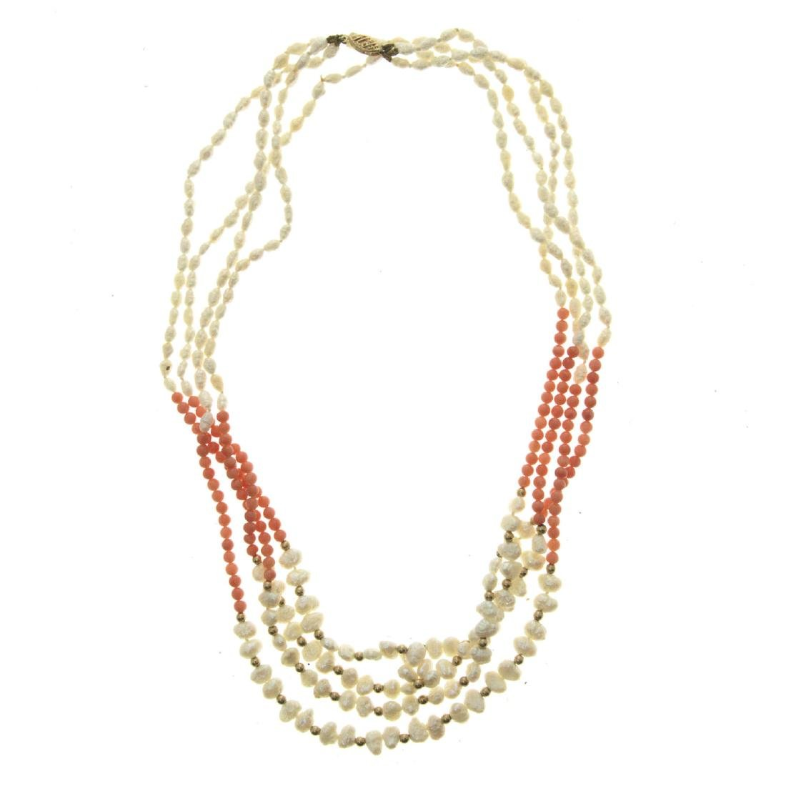 14k Yellow Gold, Pearl and Coral Necklace.