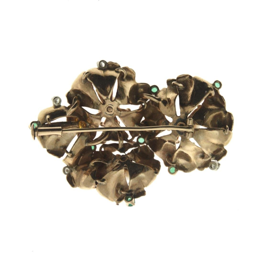14k Yellow Gold Diamond, Emerald and Pearl Brooch. - 2