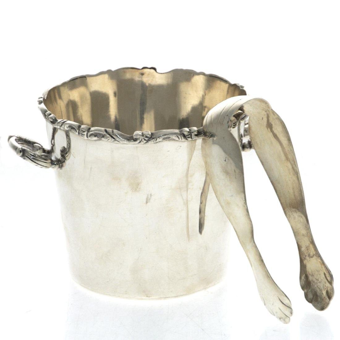 Sterling Silver Ice Bucket and Tongs.