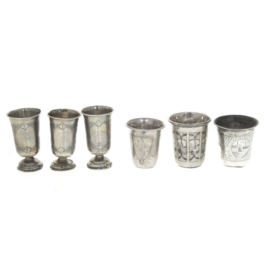 Six Russian Silver Cups Tots, Late 19th - Early 20th