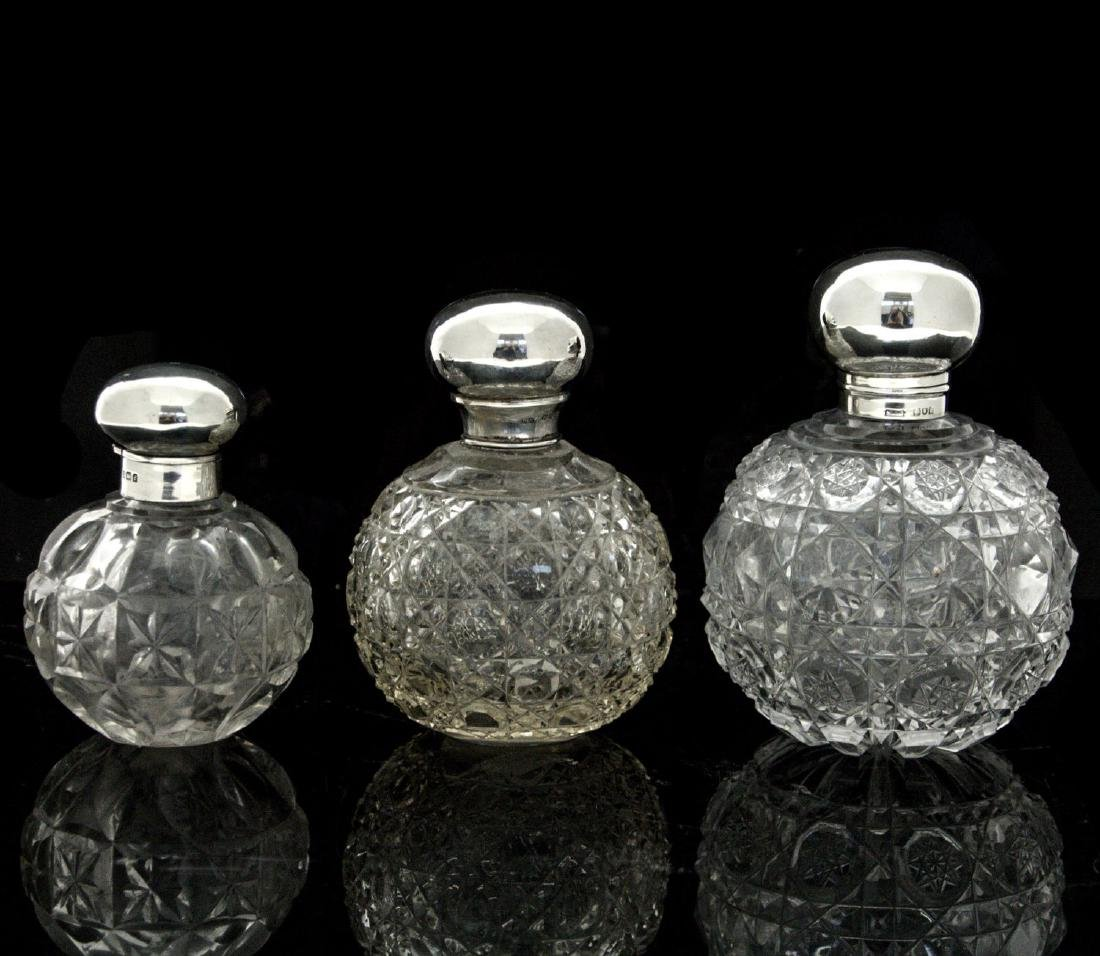 Three Sterling Silver and Cut Crystal Scent Bottles,