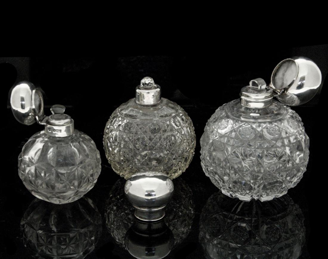 Three Sterling Silver and Cut Crystal Scent Bottles, - 2