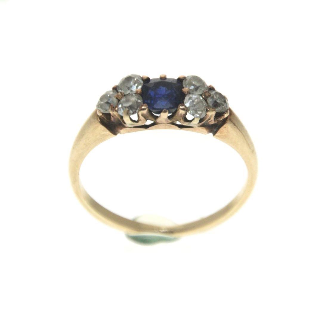 14k Yellow Gold Sapphire Diamond Ring.