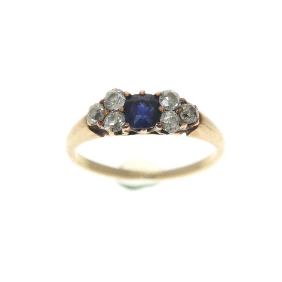 14k Yellow Gold Sapphire Diamond Ring. - 2