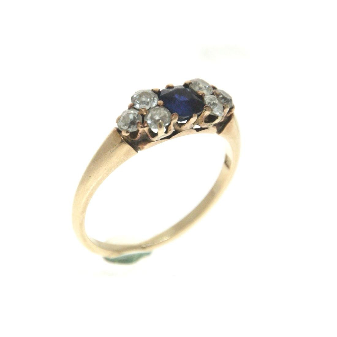 14k Yellow Gold Sapphire Diamond Ring. - 3