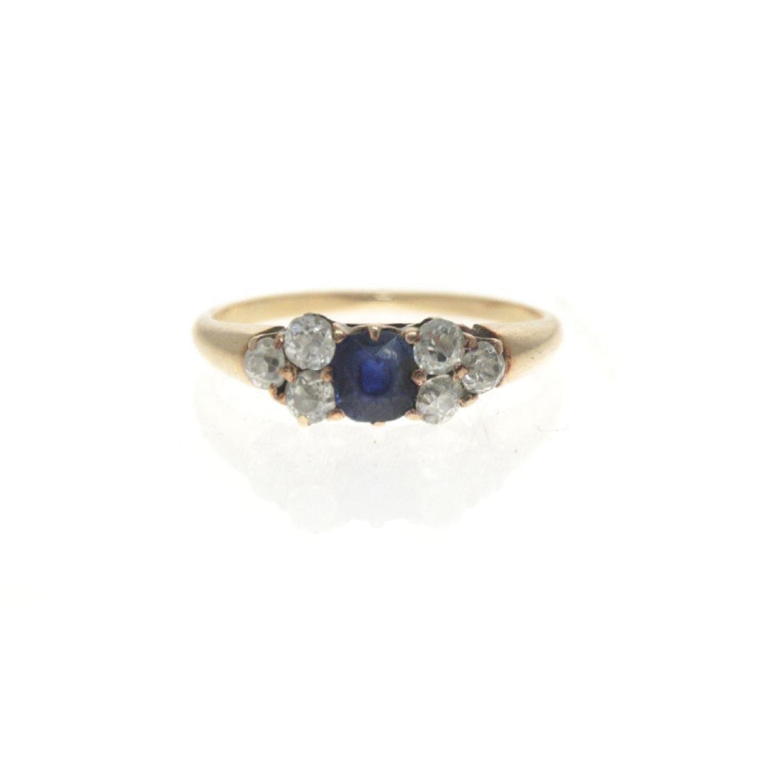 14k Yellow Gold Sapphire Diamond Ring. - 4