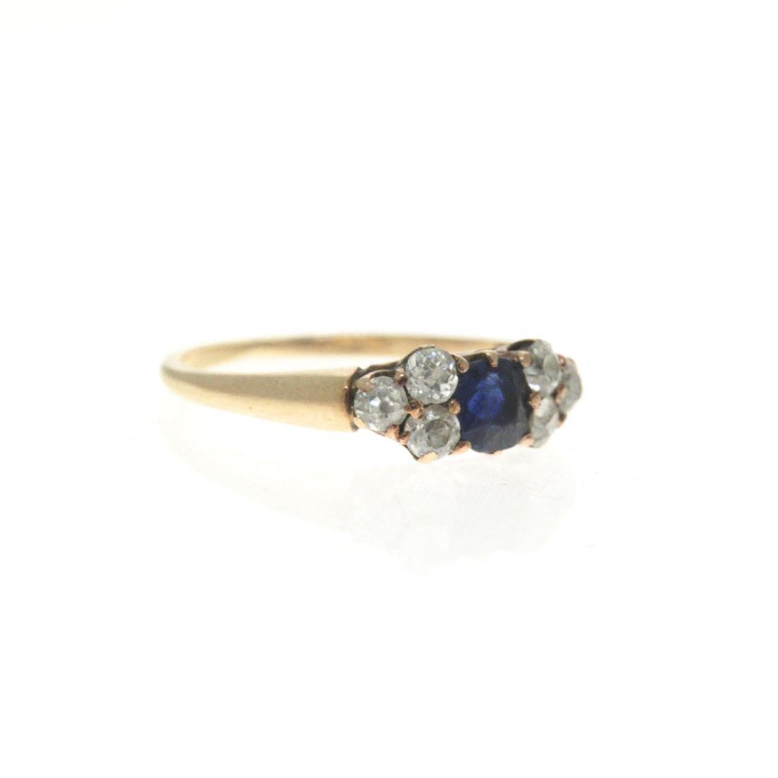 14k Yellow Gold Sapphire Diamond Ring. - 5